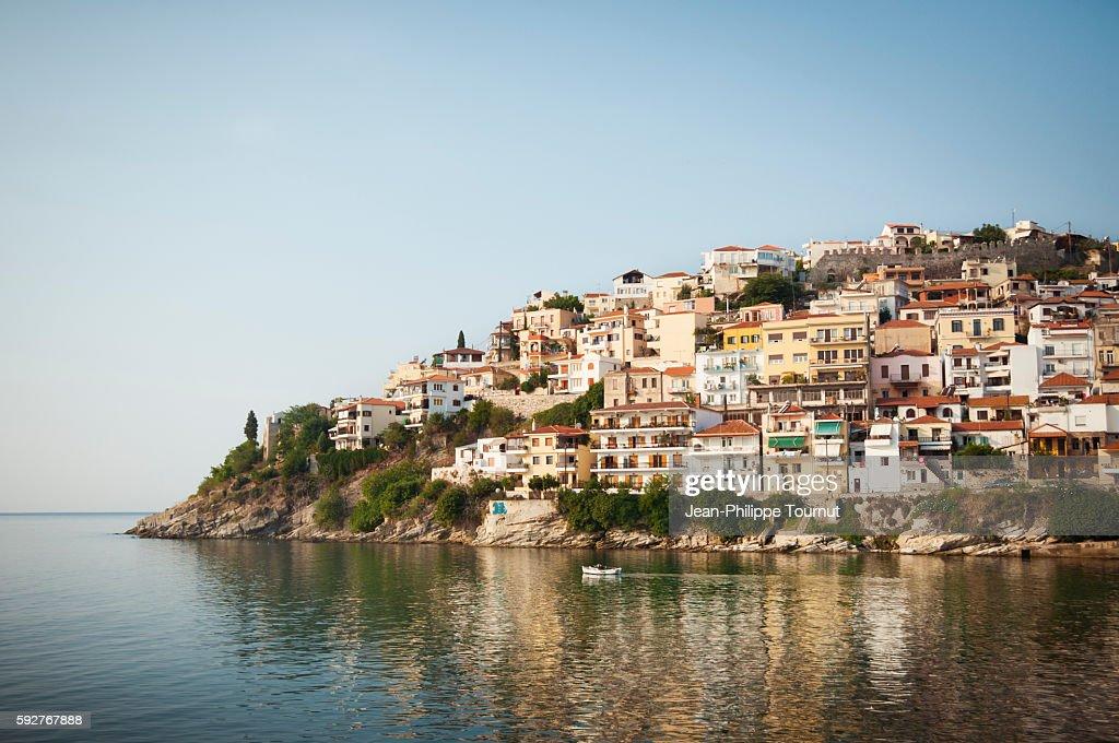 Colourful buildings on Kavala's coastline, Greece : Stock Photo