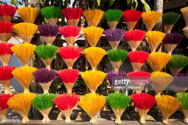 Colourful bundles of incense sticks for sale, Thuy Xuan Hat village, near Hue, Vietnam