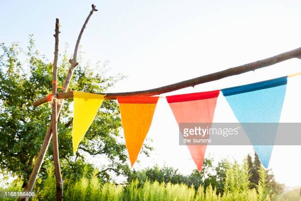 colourful bunting flags/ pennant chain for party decoration in a garden against sky - bunting stock pictures, royalty-free photos & images