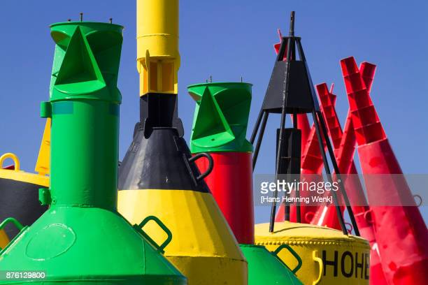 colourful buoys - buoy stock photos and pictures
