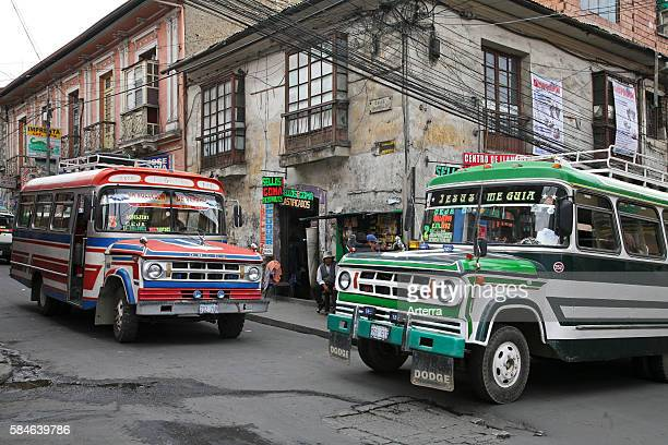 Colourful buses as public transport in La Paz Bolivia