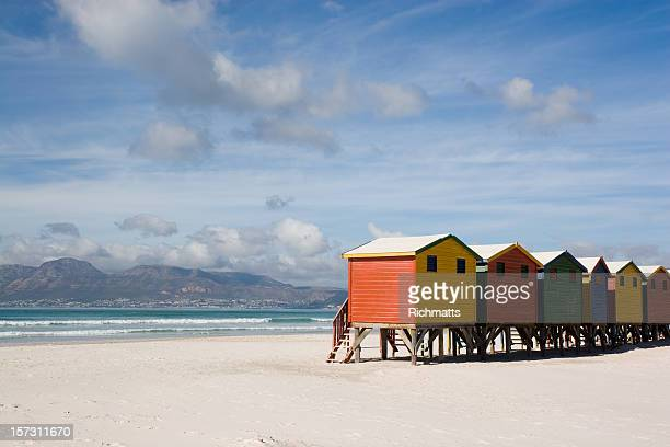 Colourful Cabins on Empty Beach