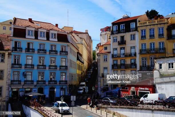 colourful calçada do carmo street, lisbon, portugal - calçada stock pictures, royalty-free photos & images