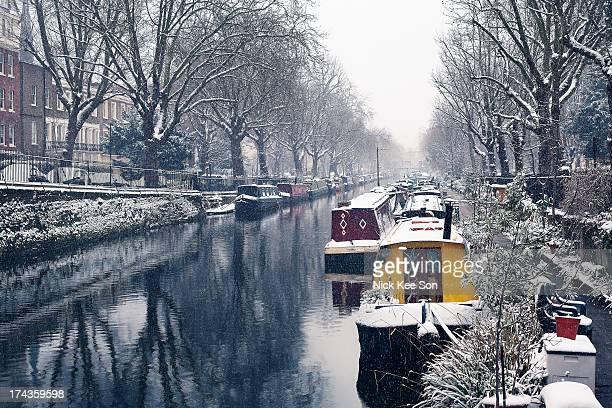 Colourful canal narrowboats, London, England