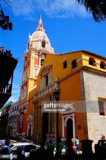 Colourful Cathedral de Santa Catalina de Alejandria, Cartagena, Colombia