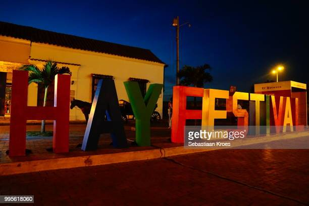 Colourful Characters at Dusk, Hay Festival, Cartagena, Colombia