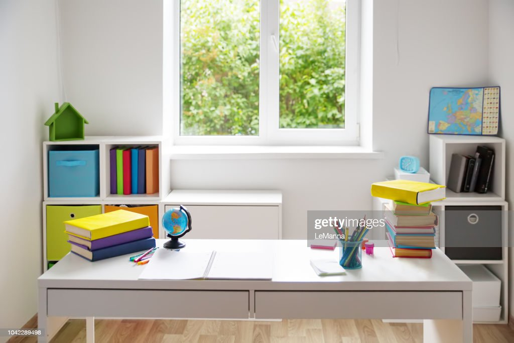 Colourful children rooom with white walls and furniture : Stock Photo
