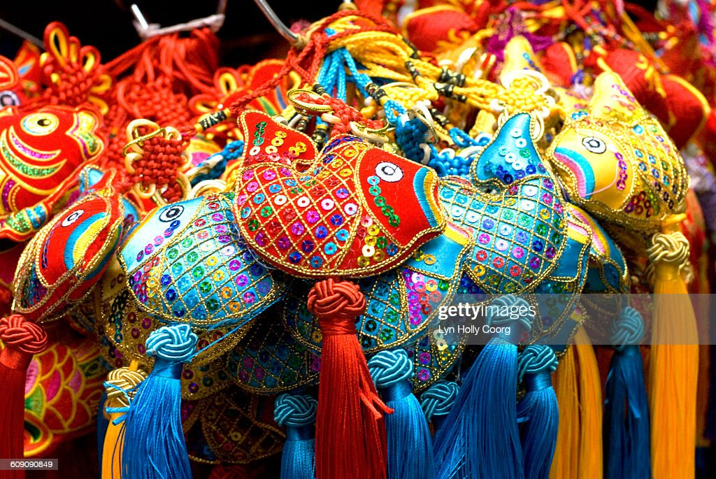 Colourful Chinese fish decorations for sale : Stock Photo