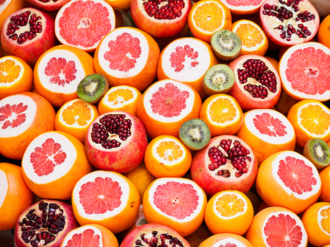 Colourful circles of fresh juicy fruit - gettyimageskorea