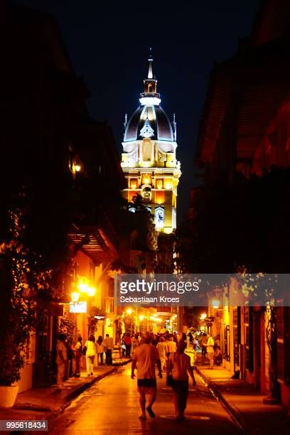 Colourful Clock Tower towering over the citystreets of Cartagena, Night, Colombia