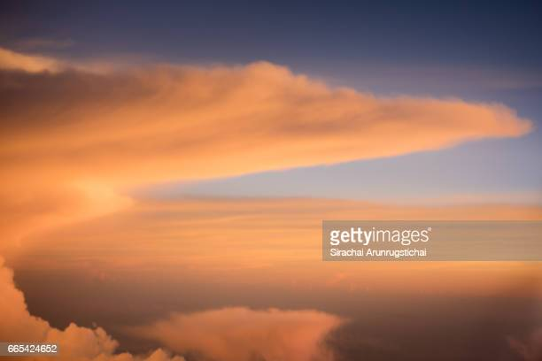 Colourful cloud formation over twilight sky during flight