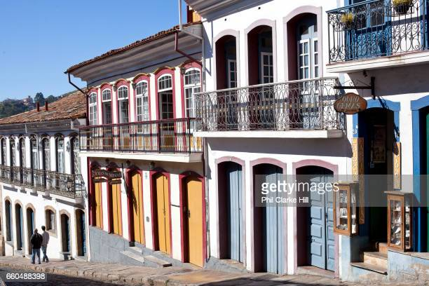 Colourful Colonial buildings in the city centre of Ouro Preto in the state of Minas Gerais Brazil Ouro Preto meaning black gold was an important...