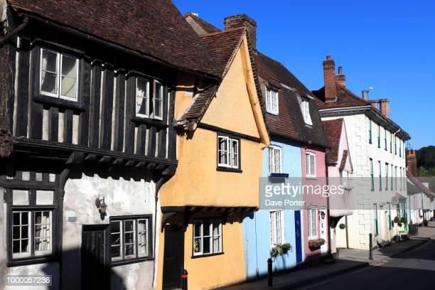 colourful cottages; saffron walden town; essex; england; uk - saffron walden stock photos and pictures