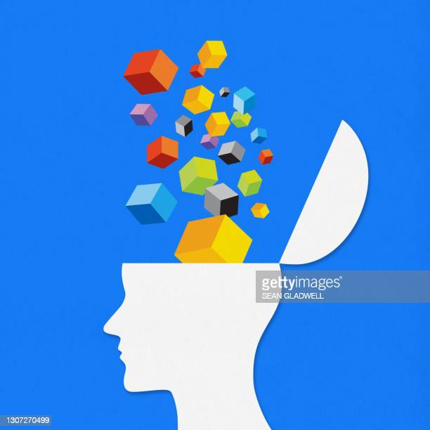 colourful cubes head - contemplation stock pictures, royalty-free photos & images