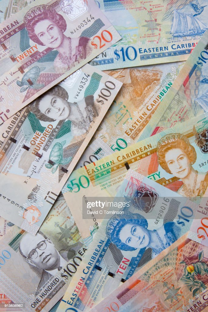 Colourful Display Of Eastern Caribbean Dollar Banknotes St Lucia Stock Photo