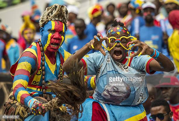 Colourful DR Congo fans enjoying the football during the Group C match between Ivory Coast and DR Congo at Stade Oyem on January 20 2017 in Oyem Gabon