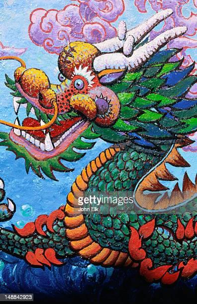 Colourful dragon mural in Chinatown - San Francisco, California