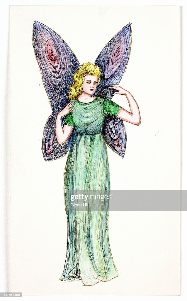 A colourful drawing of a fairy by Elsie Hill, nee Wright (1901-1988), about 1983. Elsie Hill drew this fairy in later life during her discussions with Geoffrey Crawley. Crawley wrote a series of articles on the Cottingley Fairies for the British Journal of Photography, 1982-3. Elsie and her cousin Frances Griffiths (1907-1986) never understood why so many people believed in the Cottingley Fairies. Frances had a copy of 'Princess Mary's Gift Book' (1915), and the girls were inspired by the fairy illustrations inside to make their own versions. To set up the original photographs, the girls secured their cutout fairies in the ground, or to trees, using hatpins. The story of the Cottingley Fairies began as a practical joke in Cottingley, near Bradford, West Yorkshire in 1917. The photographs of the 'Beck Fairies', as the girls called them, went on to become one of the most famous examples of image manipulation in photography.
