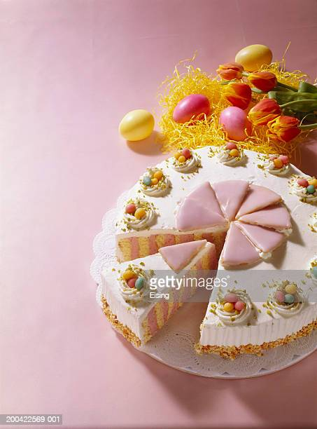 Colourful Easter cake with marzipan eggs