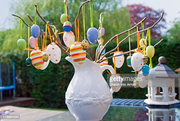 Colourful Easter tree in garden