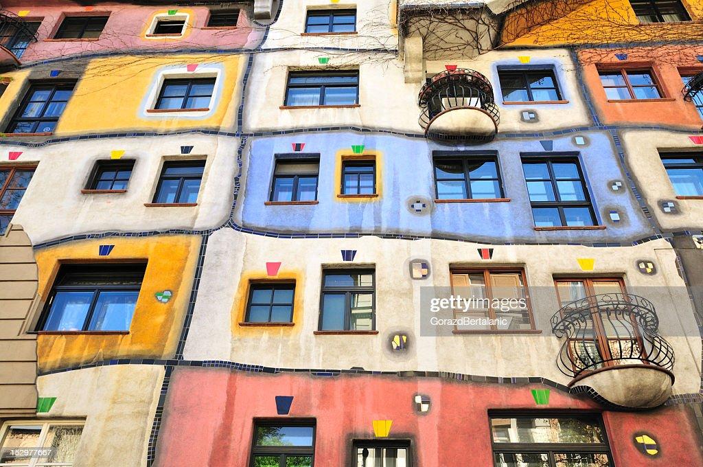 Colourful Facade of the Hundertwasser House, Hundertwasserhaus, Vienna, Austria : Stock Photo