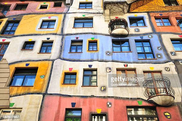 colourful facade of the hundertwasser house, hundertwasserhaus, vienna, austria - vienna austria stock pictures, royalty-free photos & images