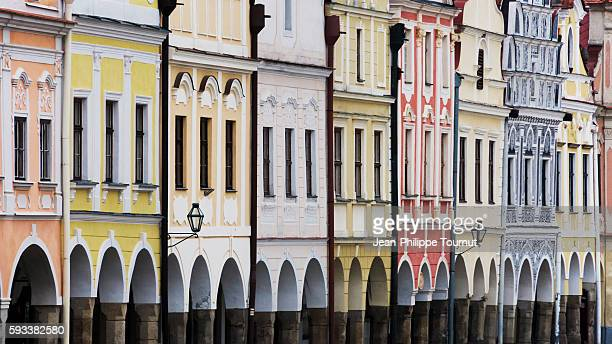 Colourful facades in the centre of Telc in South Bohemia, Czech Republic, Central Europe