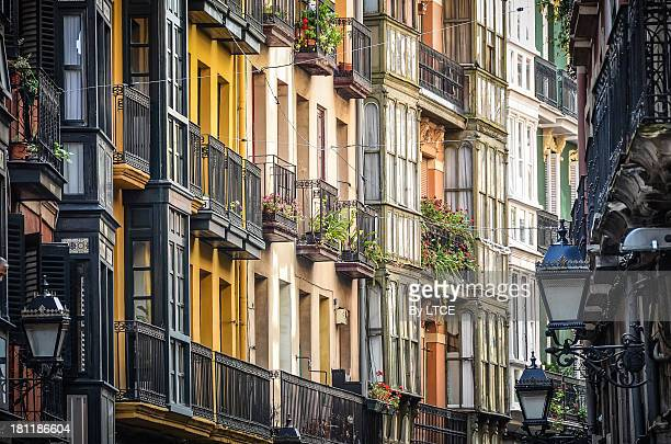 Colourful facades of the Old District in Bilbao