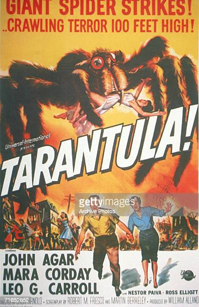 A colourful film poster advertising the classic 1955 horror film 'Tarantula' The movie stars John Agar Mara Corday and Leo G Carroll and boasts the...