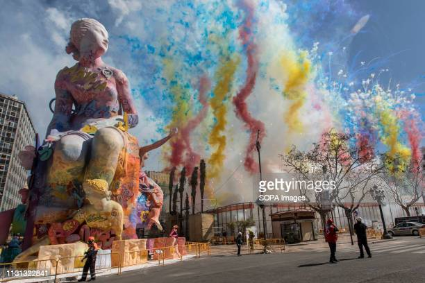 Colourful firecrackers seen exploding during the traditional 'Mascleta' of the Fallas festival. Fallas are huge sculptures depicting famous...