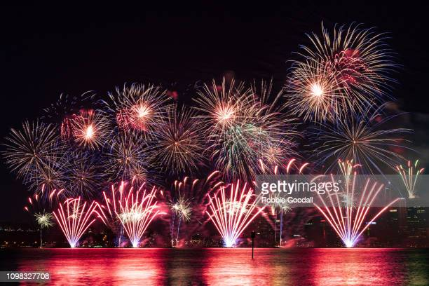 colourful fireworks over the swan river, perth - western australia - australia day stock pictures, royalty-free photos & images