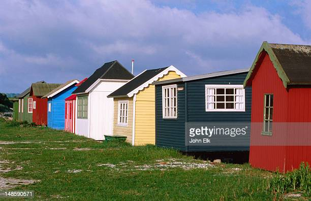 Colourful fishing cabins.