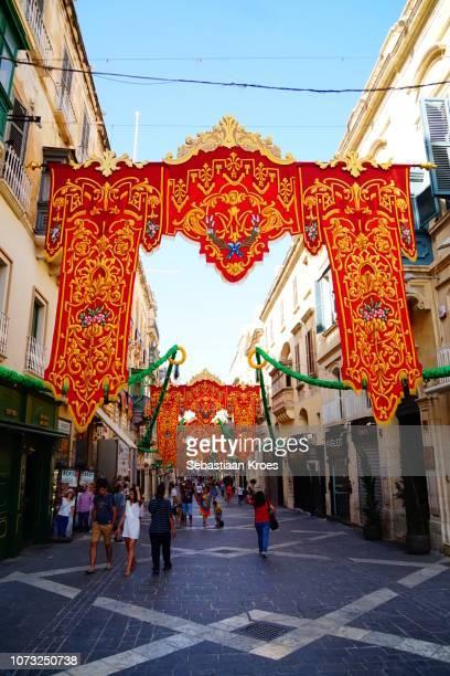 Colourful Flags at Republic Street, Shops, Valletta, Malta
