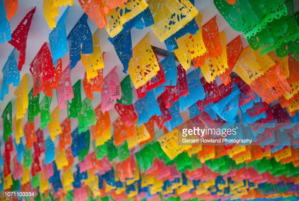 colourful flags at the day of the dead, mexico city - political party stock pictures, royalty-free photos & images