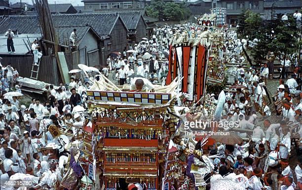 Colourful floats are displayed during the Tobata Gion Yamagasa Festival on July 22 1955 in Tobata Fukuoka Japan