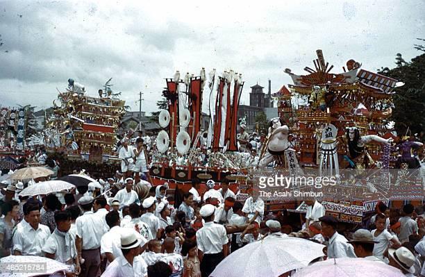 Colourful floats are displayed during the Tobata Gion Yamagasa Festival on July 22 1955 in Kitakyushu Fukuoka Japan