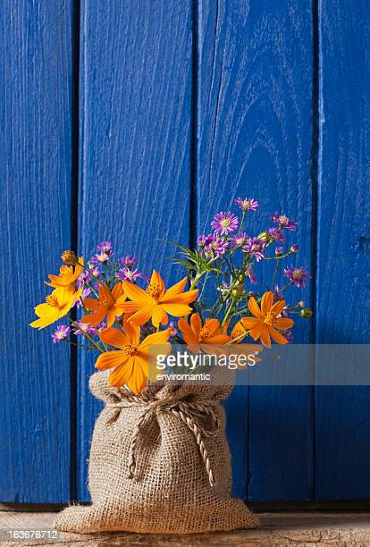Colourful flowers in front of an old window shutter.