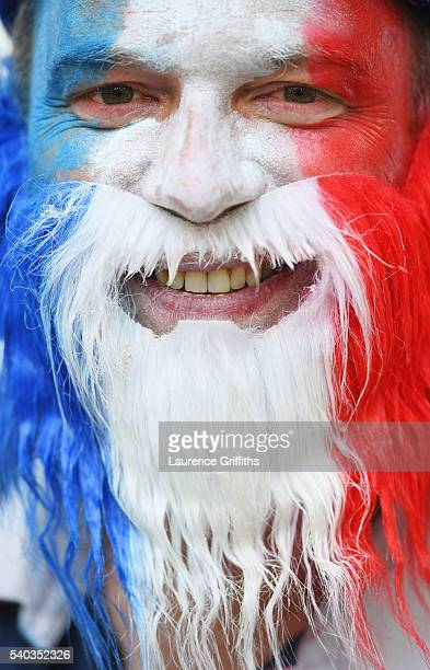 A colourful France fan looks on prior to the UEFA EURO 2016 Group A match between France and Albania at Stade Velodrome on June 15 2016 in Marseille...