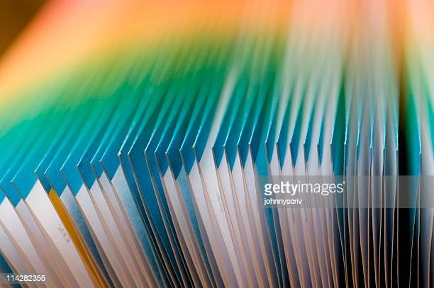 colourful french folded pages... - publication stock pictures, royalty-free photos & images