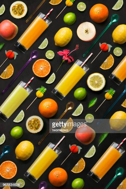 Colourful fruit juice.