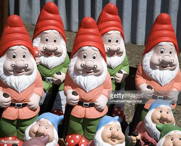 Colourful garden gnomes lined up for sale UK