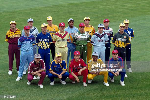 A colourful group photograph featuring one player from each First Class County Cricket team showing the new clothing that each team will wear in the...