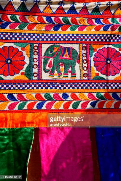 colourful handicraft art gujarat, india - embroidery stock pictures, royalty-free photos & images