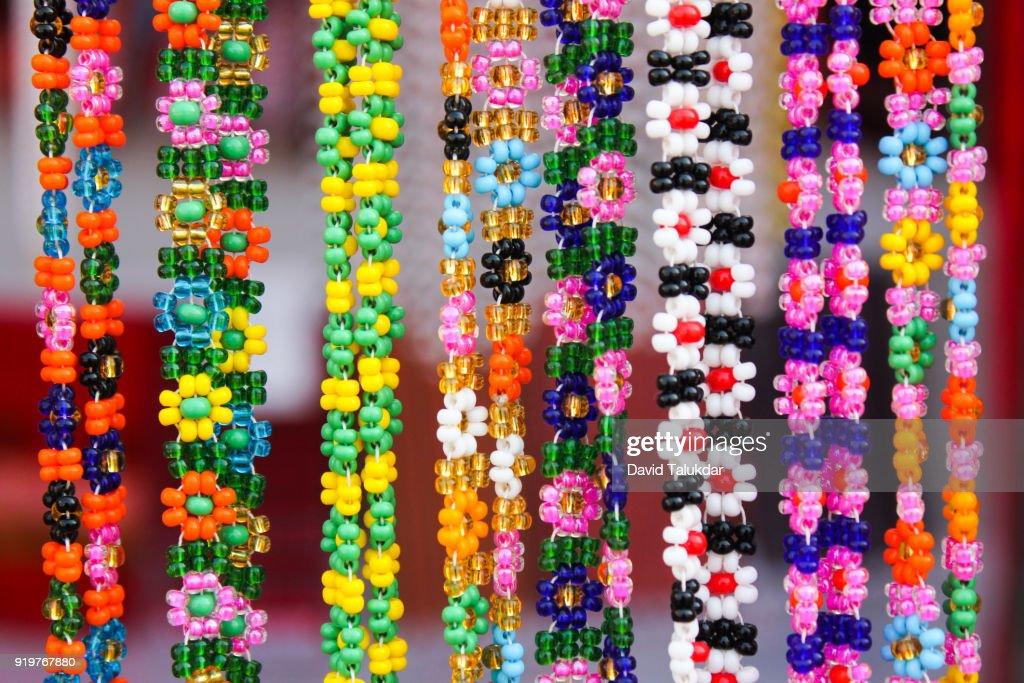 Colourful handmade beaded jewellery : Stock Photo