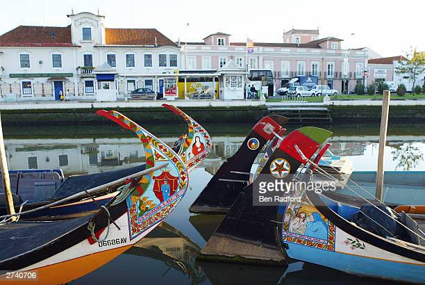 Colourful handpainted boats are seen on the San Roque canal November 18 2003 in the centre of Aveiro Portugal Aveiro is one of the host cities for...