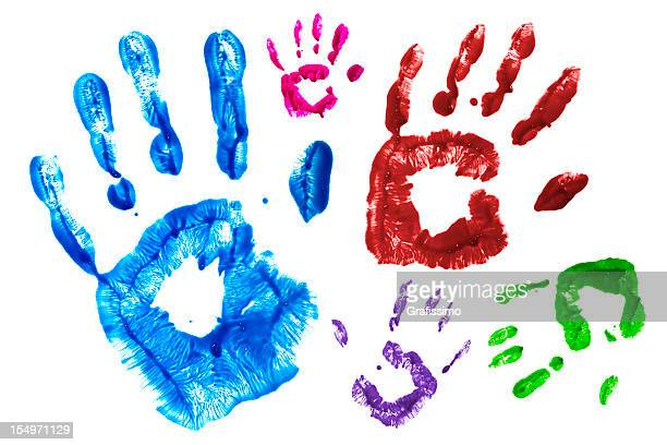 Colourful handprints printed on window isolated