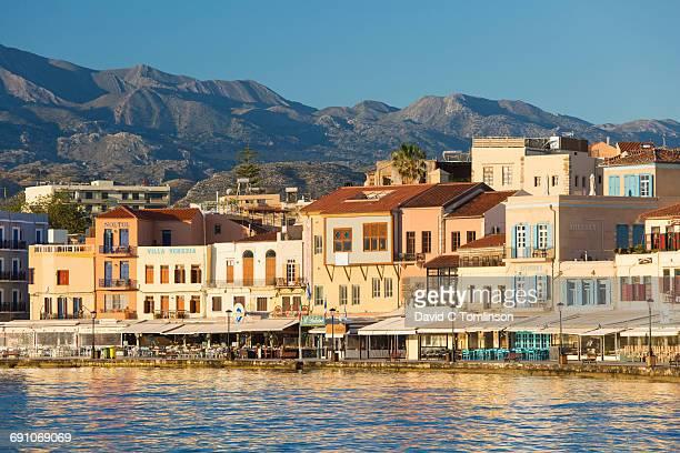 Colourful harbourside buildings, Hania, Crete