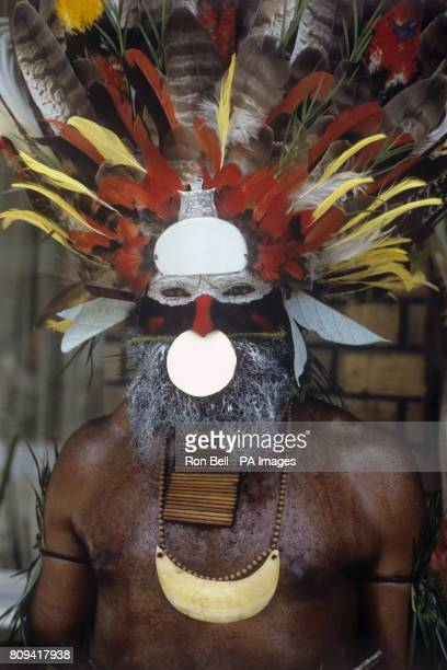 A colourful Highland tribesman during the Singsing held at the Old Golf course Mt Hagen Papua New Guinea