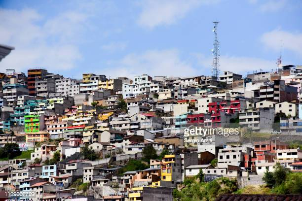 Colourful hillside houses in Quito
