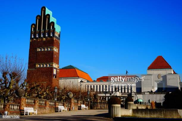 colourful hochzeitsturm and exhibition centre, darmstadt, germany - darmstadt stock pictures, royalty-free photos & images